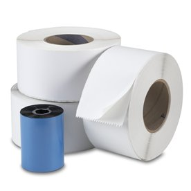 Continuous Thermal Transfer Labels 4 in x 7874 in 3 rolls with 1 Transfer Ribbon