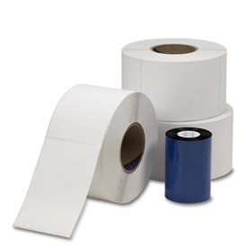 Die Cut Thermal Transfer Labels 4 in x 6 in 3 rolls with 1 ribbon