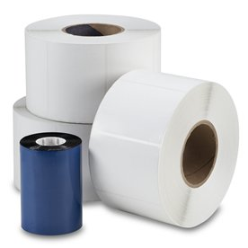 Die Cut Thermal Transfer Labels 4 in x 3 in 3 rolls with 1 ribbon