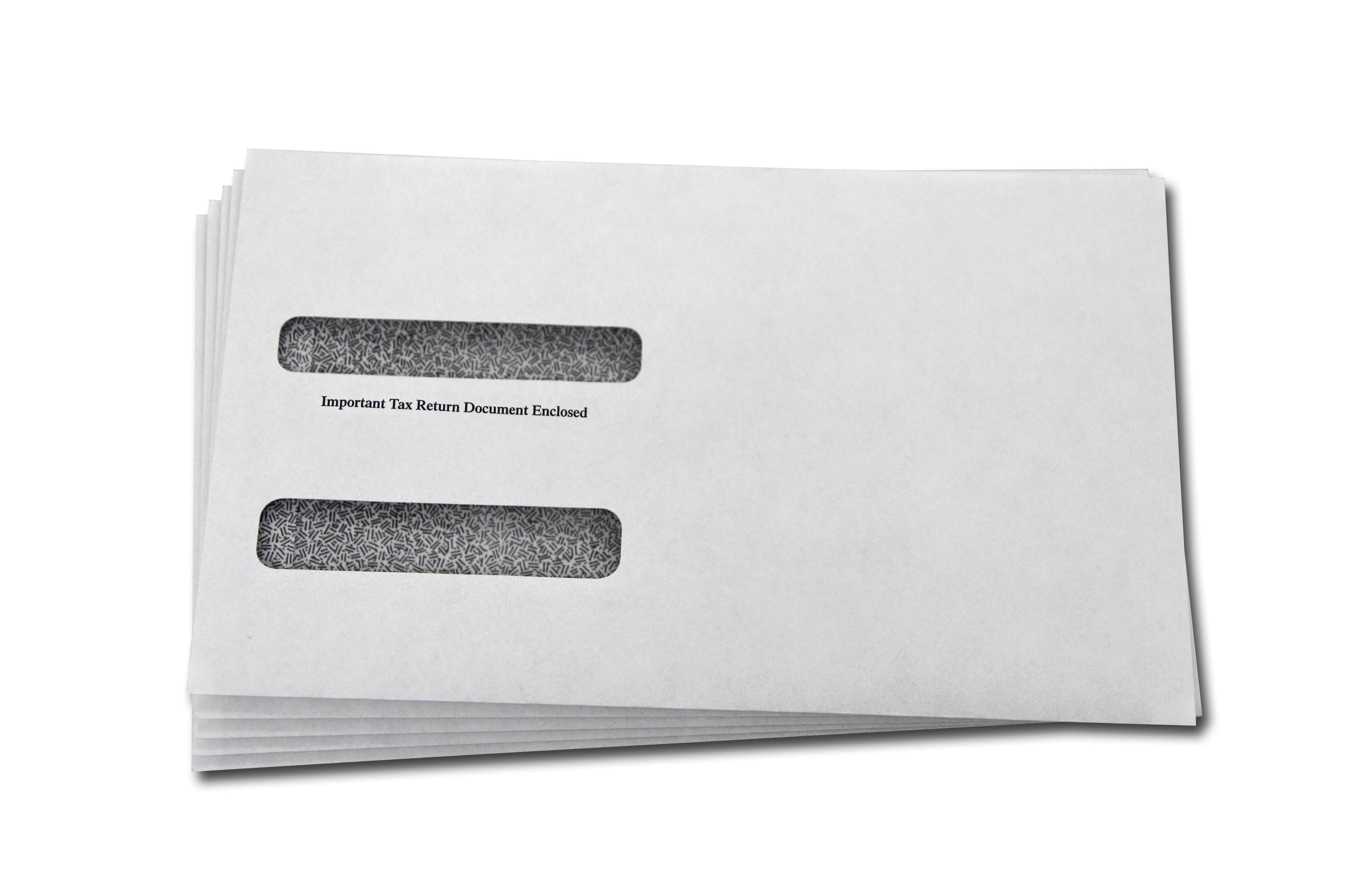 5.625 x 9.5, Stacked Window, Gummed, White W-2 Envelopes with Tint