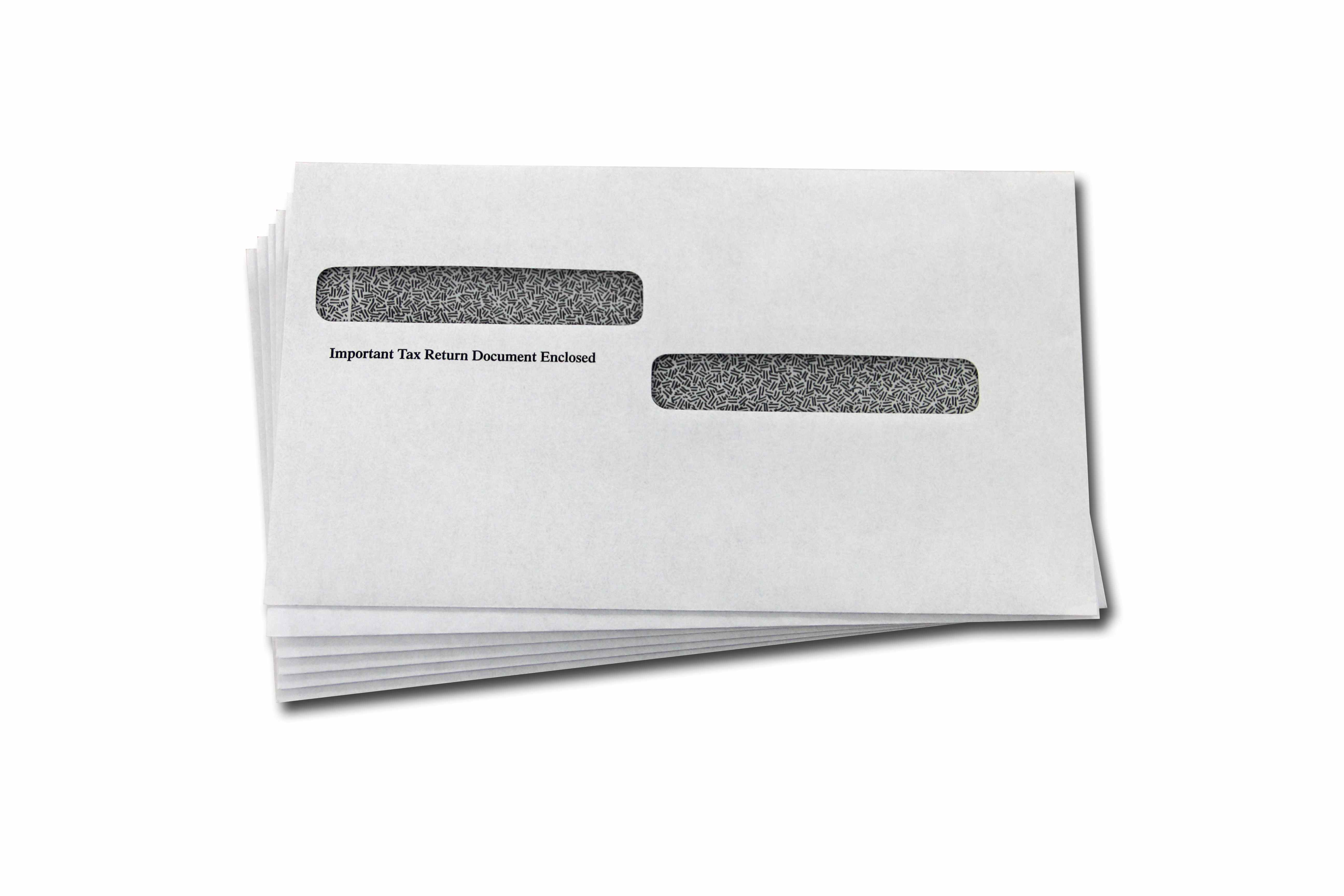 5.625 x 9.5, Side by Side Window, Gummed, White W-2 Envelopes with Tint